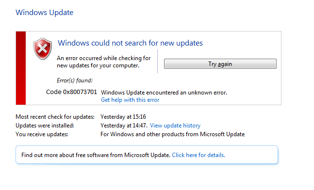 0x80073701-windows update error-windows 10/8/7 - Microsoft Live Assist