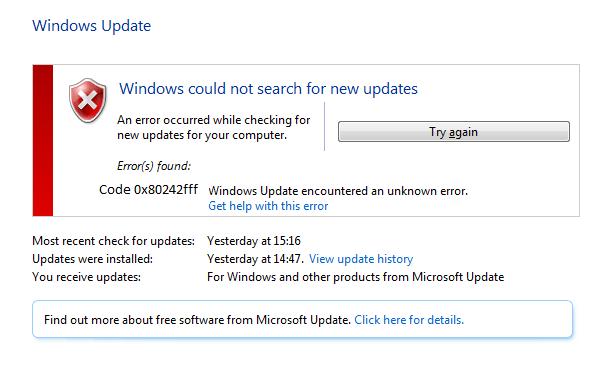 how to fix windows update error 0x80242fff - Microsoft Live Assist