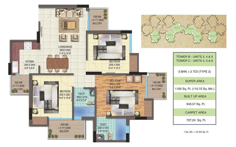 aaradhyam Golf Homes Noida Floor Plan