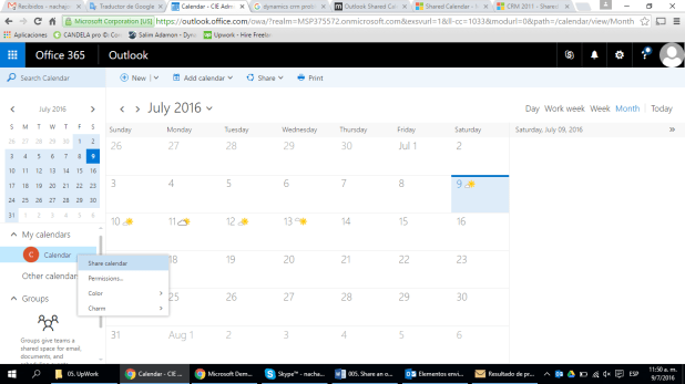 Sharing calendars with Office 365 & MS Dynamics CRM for Outlook 2016 | Code Innovations Blog
