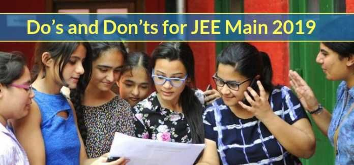 Do's and Don'ts for JEE Main 2019