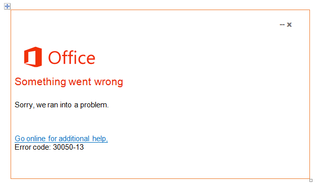 Detailed solution for office error code 30050-13 - Microsoft Live Assist
