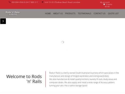 Rods and Rails is a family owned South Australian business which specializes in the manufacture and design of hinged wardrobes, Access ladders, kitchen installation
