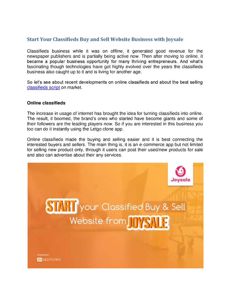 Start Your Classifieds Buy And Sell Website Business With Joysale  |authorSTREAM