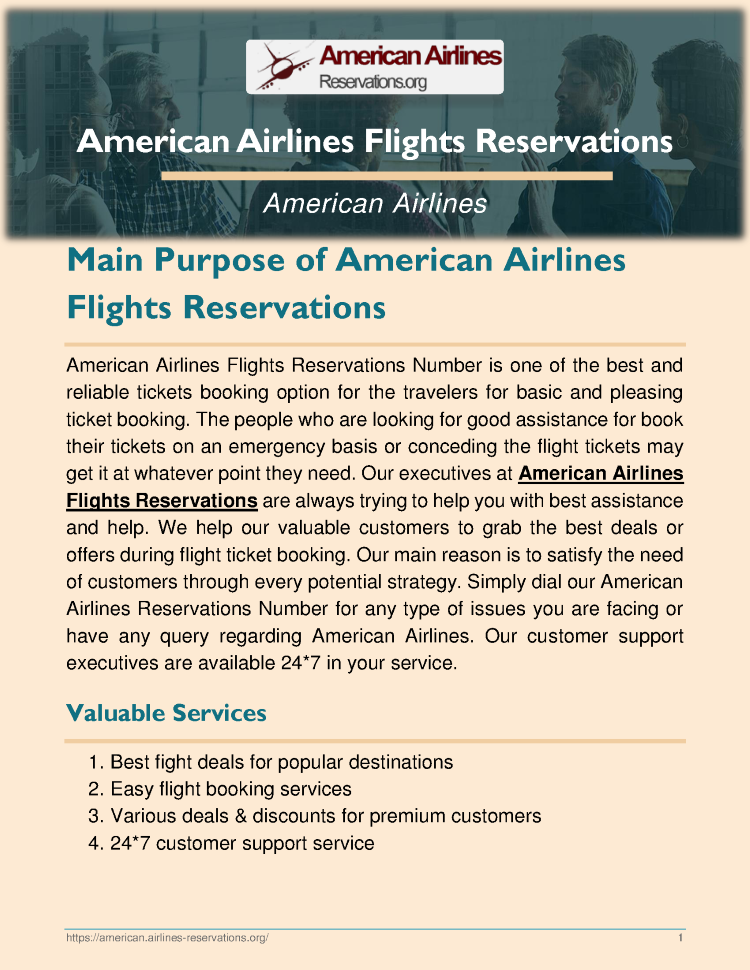 Main Purpose of American Airlines Flights Reservations