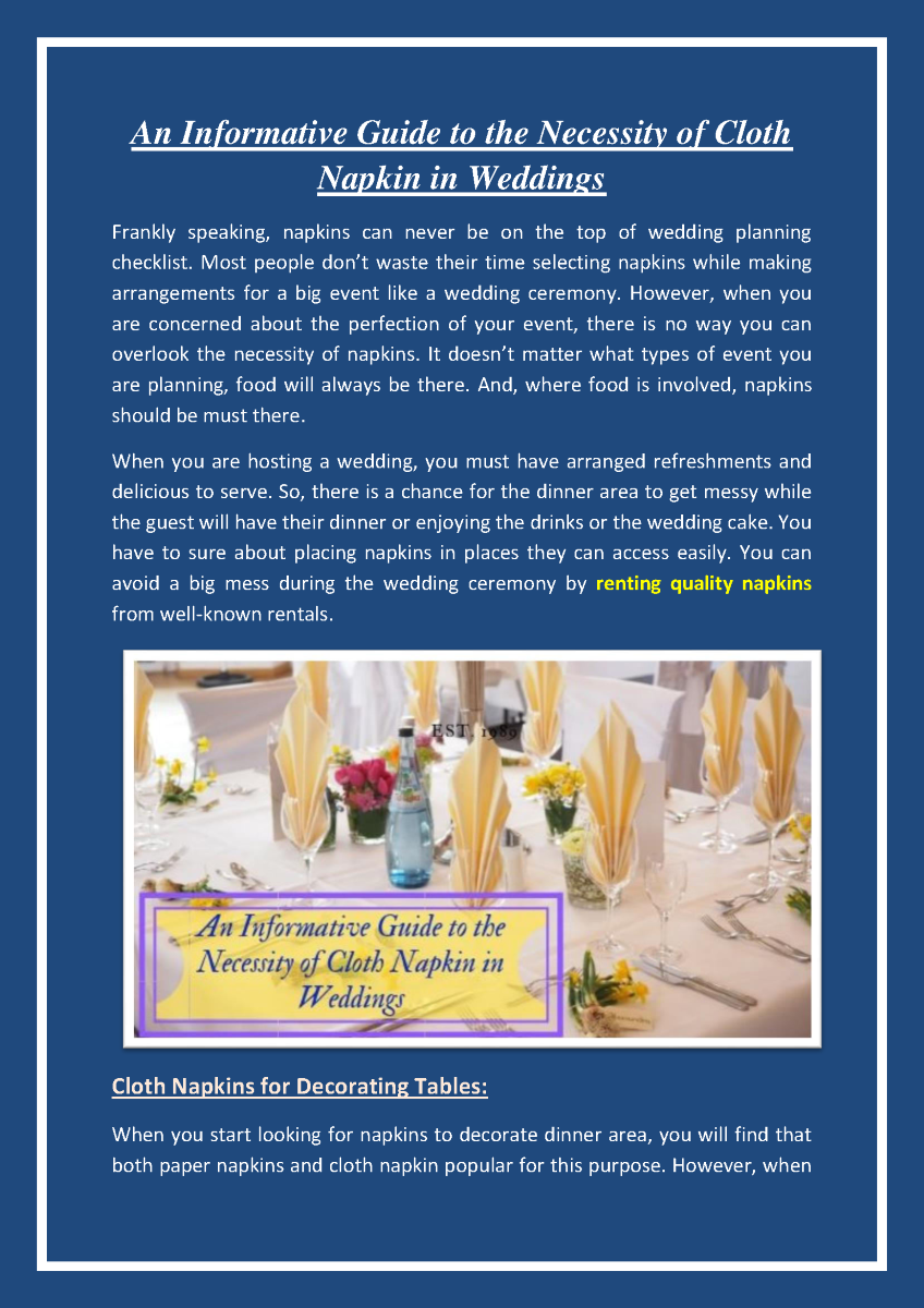 An Informative Guide to the Necessity of Cloth Napkin in Weddings  |authorSTREAM