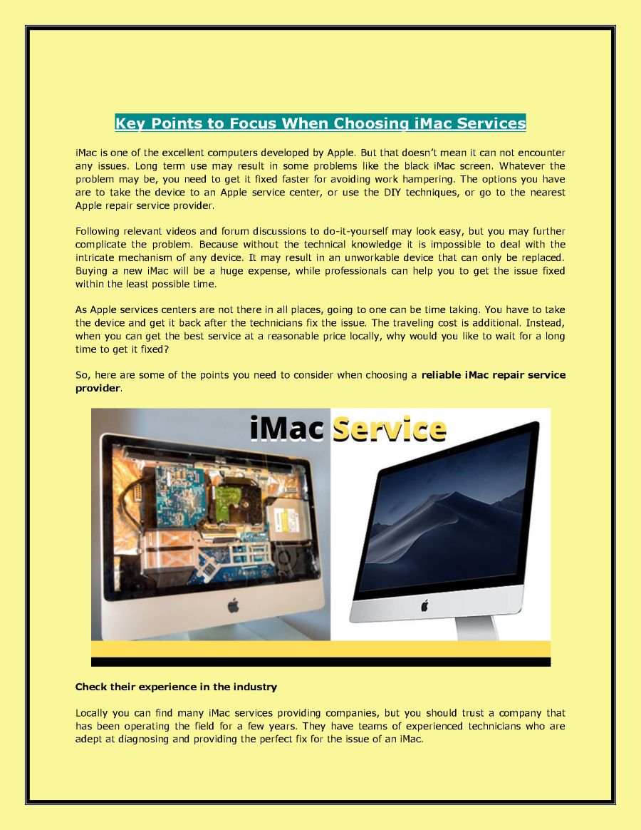 Key Points to Focus When Choosing iMac Services