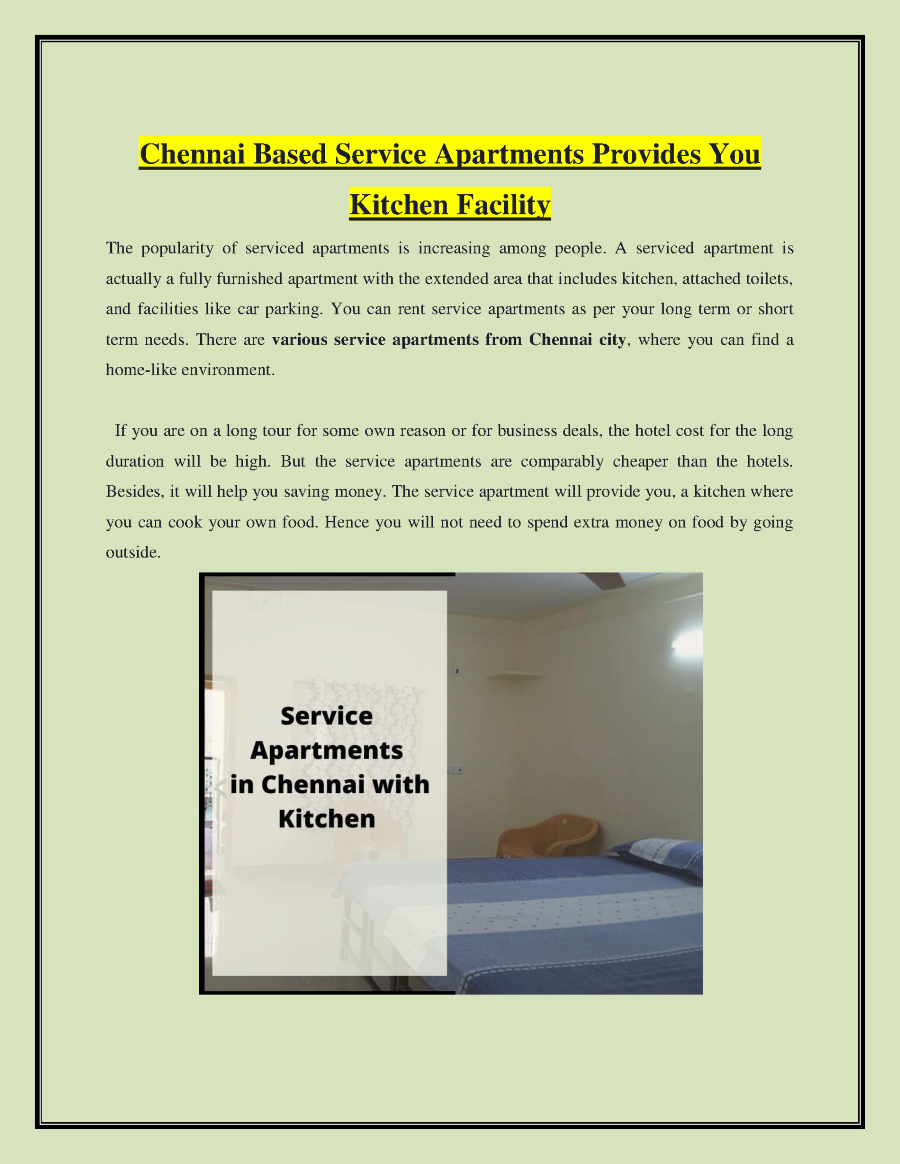 Chennai Based Service Apartments Provides You Kitchen Facility