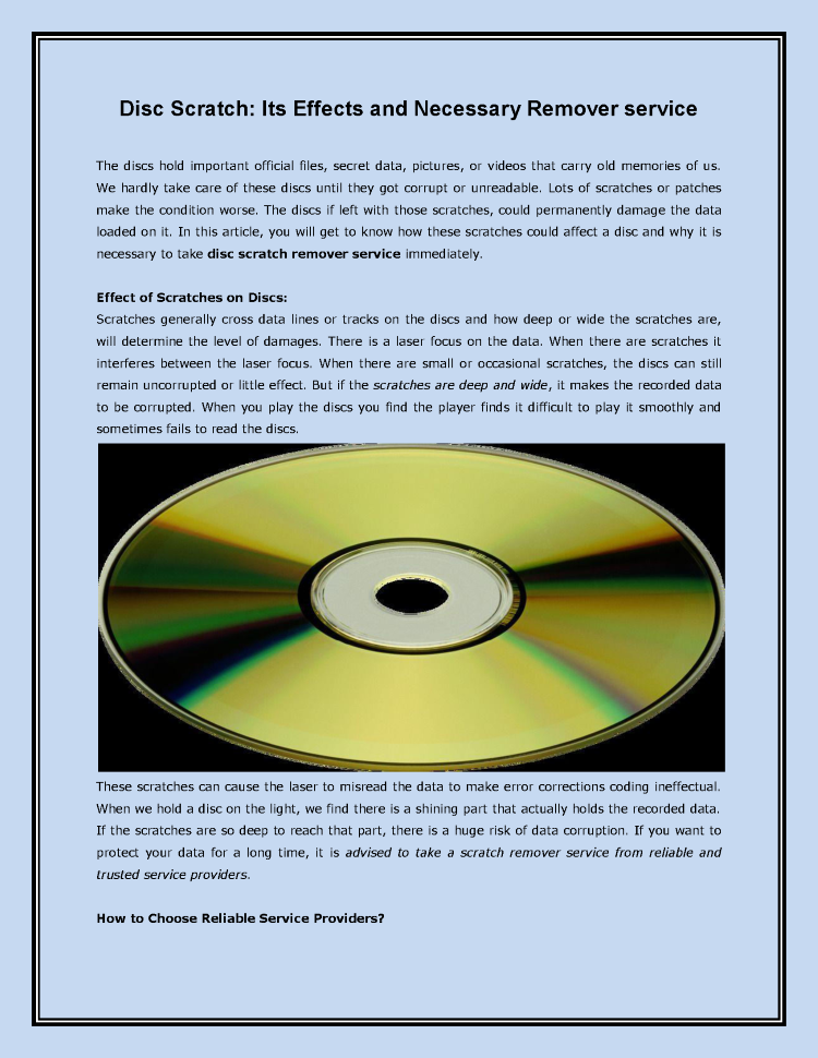 Disc Scratch: Its Effects And Necessary Remover Service  |authorSTREAM