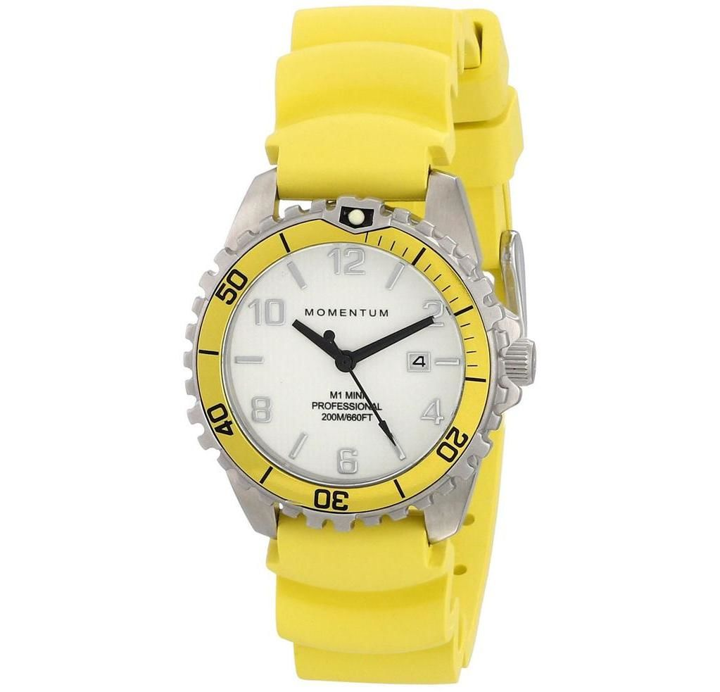 Buy Momentum M1 Mini White/yellow Rubber Watch in Dubai at cheap price