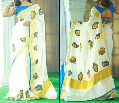 Exclusive white gold pure Kerala kalamkari Saree online