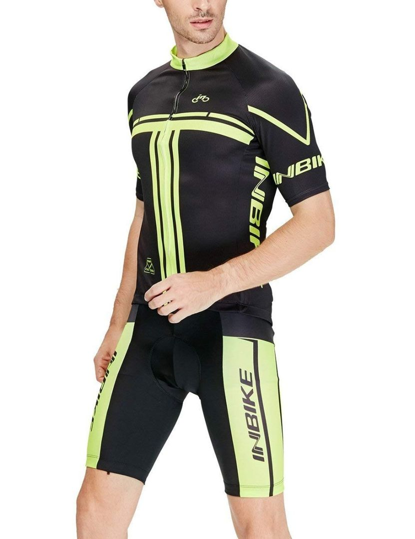 INBIKE Breathable Quick Drying Men's Short Sleeve Cycling Jersey Set with 3D Padded Shorts