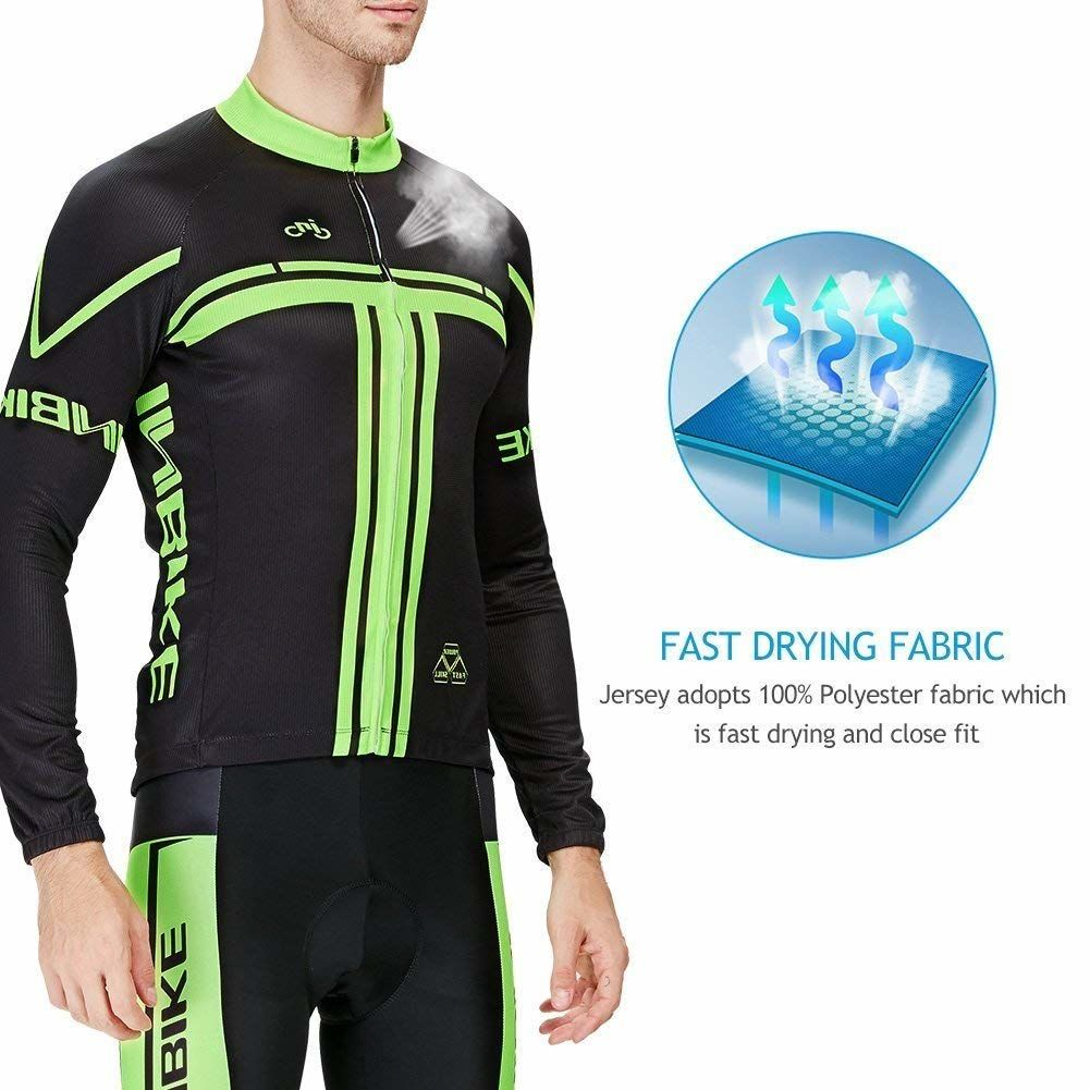 INBIKE Men's Long Sleeve Bike Jersey with 3D Padded Tight Suit