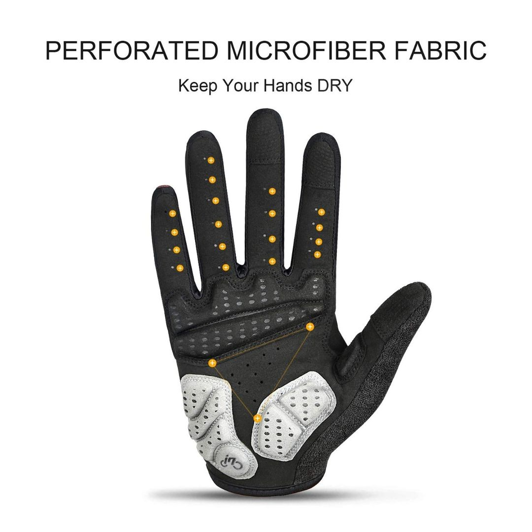 INBIKE Light Touch Screen Full Finger Cycling Gloves with Pad