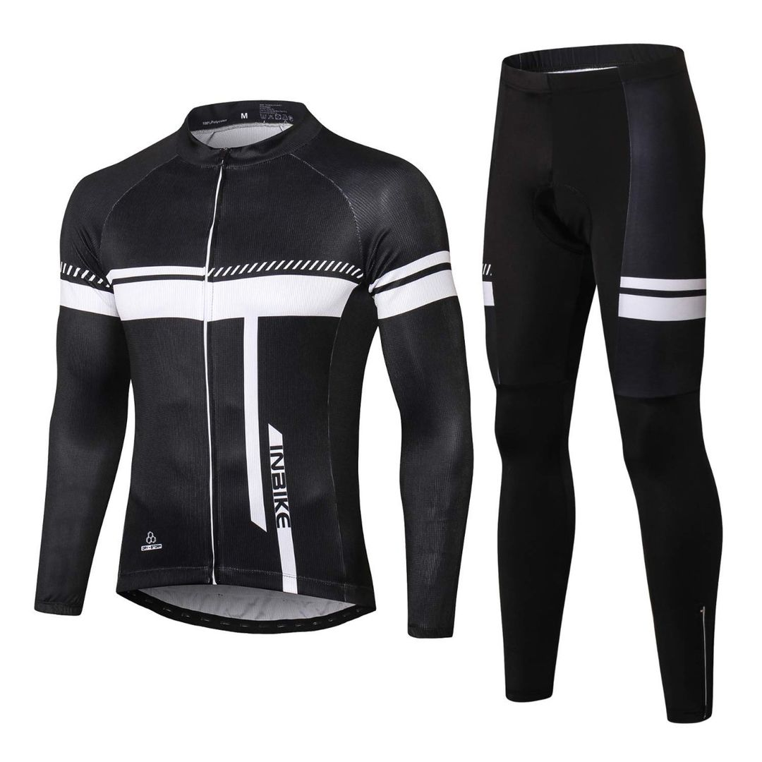 INBIKE Men's Full Zip Long Sleeve Cycling Jersey and 3D Padded Sports Pants Set
