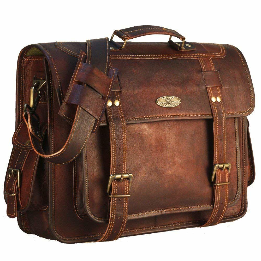 Denver Leather Laptop Shoulder Messenger Bag - Handmade World Bags