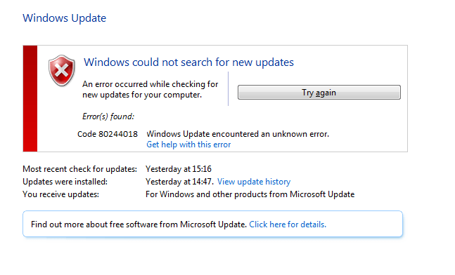 Windows update error 80244018 server 2012 r2 - Microsoft Live Assist