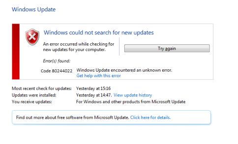 How to Solve Windows Update Error Code 80244022 - Microsoft Live Assist