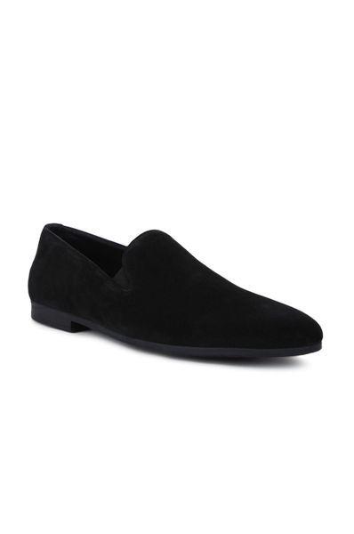 Semi Formal Slip On In Suede | 9030-black Suede