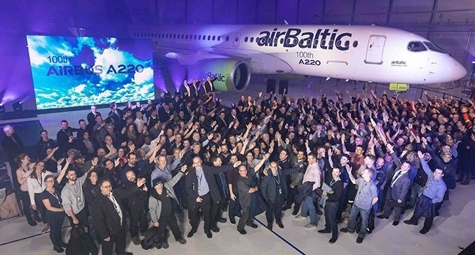 Airbus produces 100th A220 aircraft for airBaltic  Aircraft Manufacturers