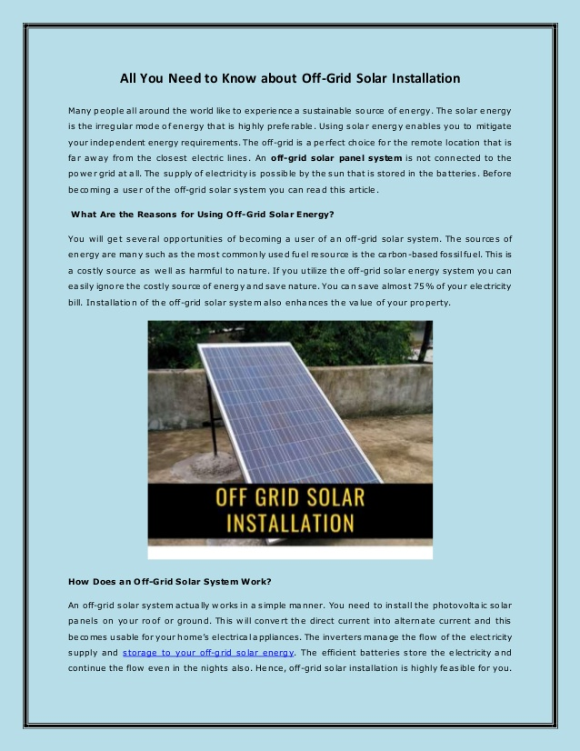 All You Need to Know about Off-Grid Solar Installation