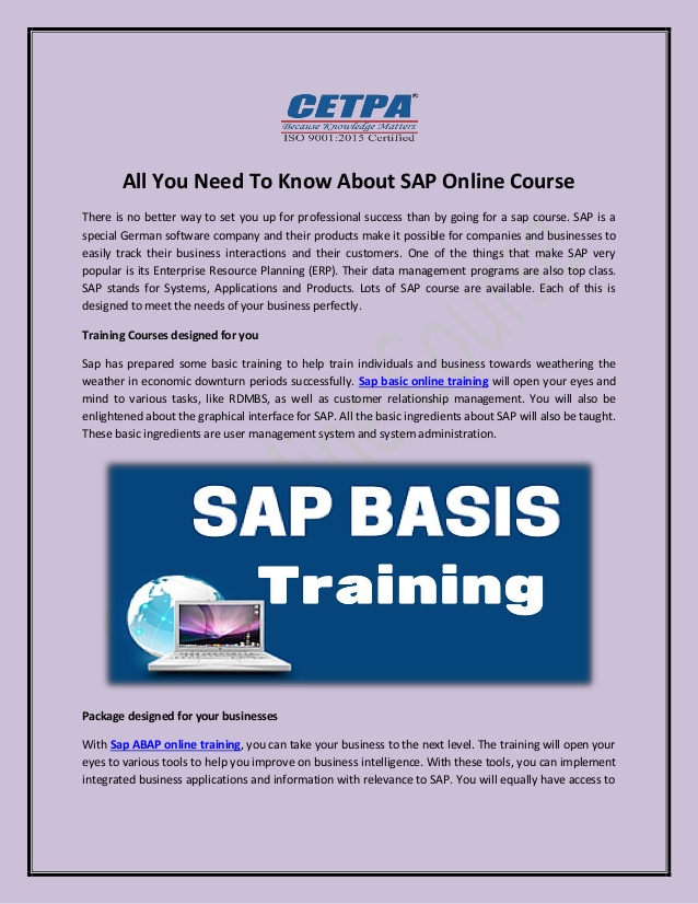 All you need to know about sap online course