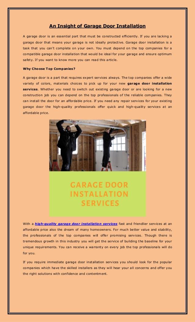An Insight of Garage Door Installation