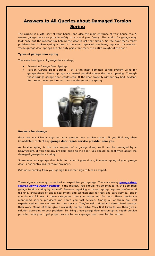 Answers to All Queries about Damaged Torsion Spring