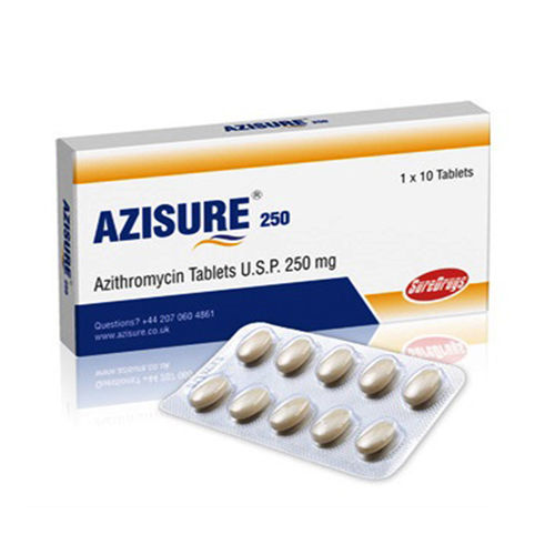 Azisure-250 Tablets, Azithromycin Tablets Usp 250 Mg - Schwitz Biotech