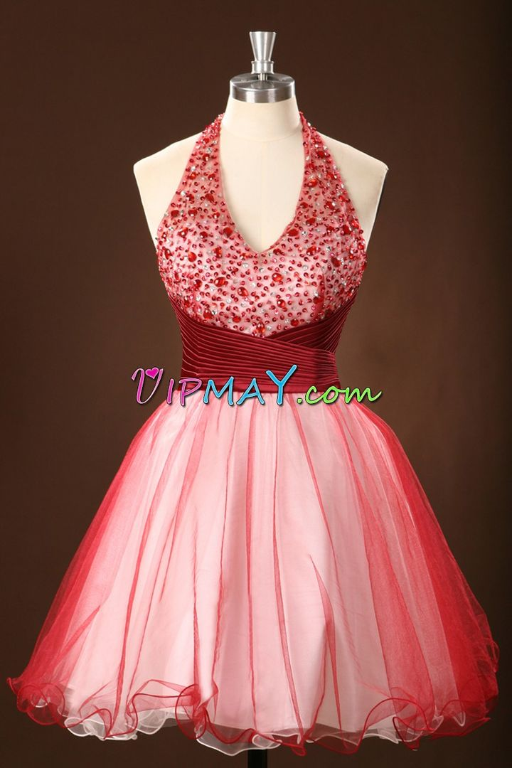 Sophisticated Sleeveless Mini Length Prom Gown and Beading and Sequins and Ruching and Belt