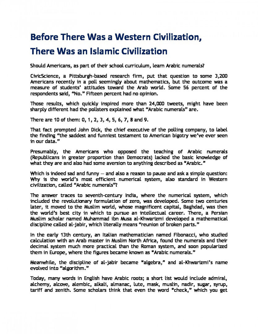 Before There Was a Western Civilization, There Was an Islamic Civilization | Visual.ly