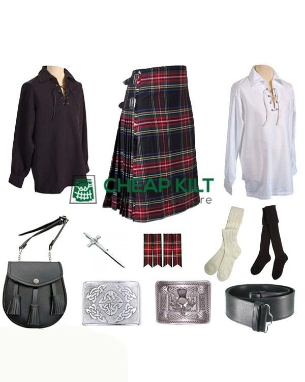 9 Pcs | Black Stewart Tartan Wedding Kilt Outfit