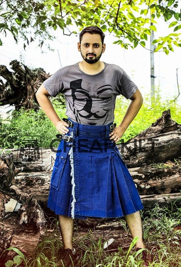 Stylish and High Quality Blue Denim Kilt Online