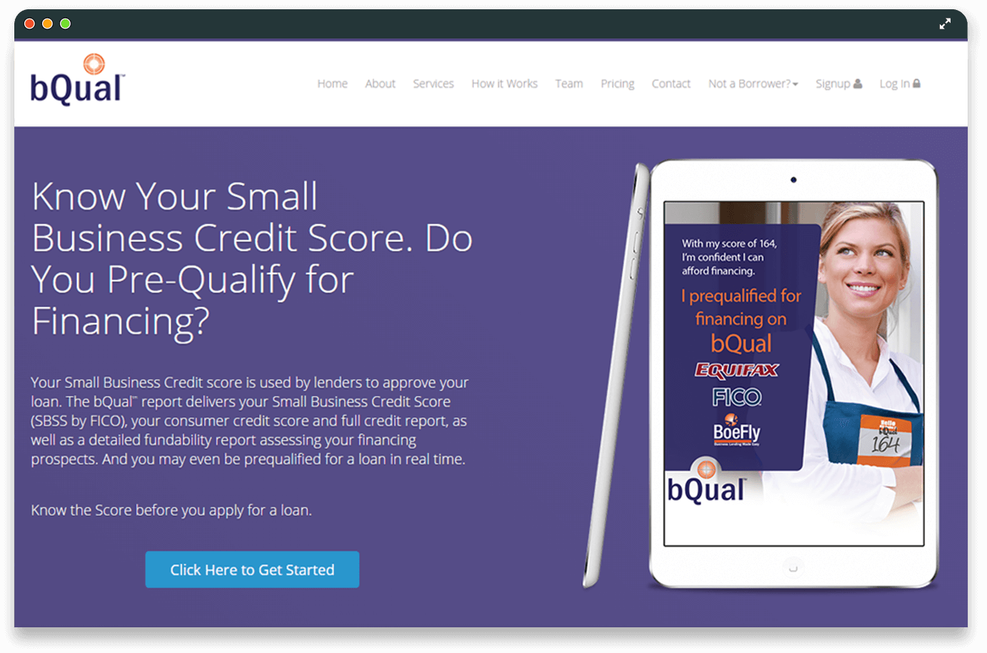 bQUAL | A Credit Score Checker Website Application For Small Business