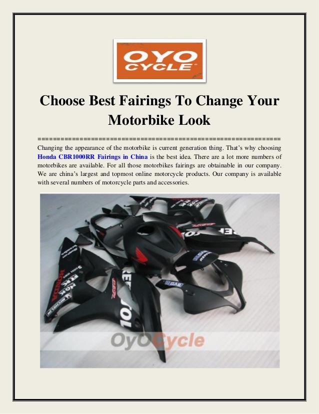 Choose Best Fairings To Change Your Motorbike Look