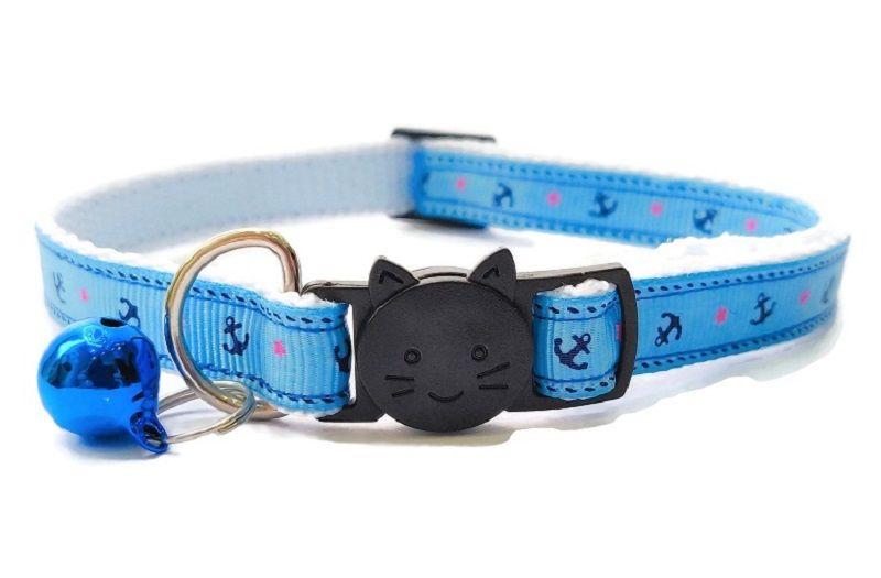 Light Blue Anchor Cat Collar | Handmade Cat Collars