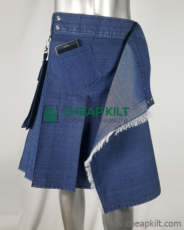 Deluxe Denim Utility Kilt for Active Fashion-Forward Men
