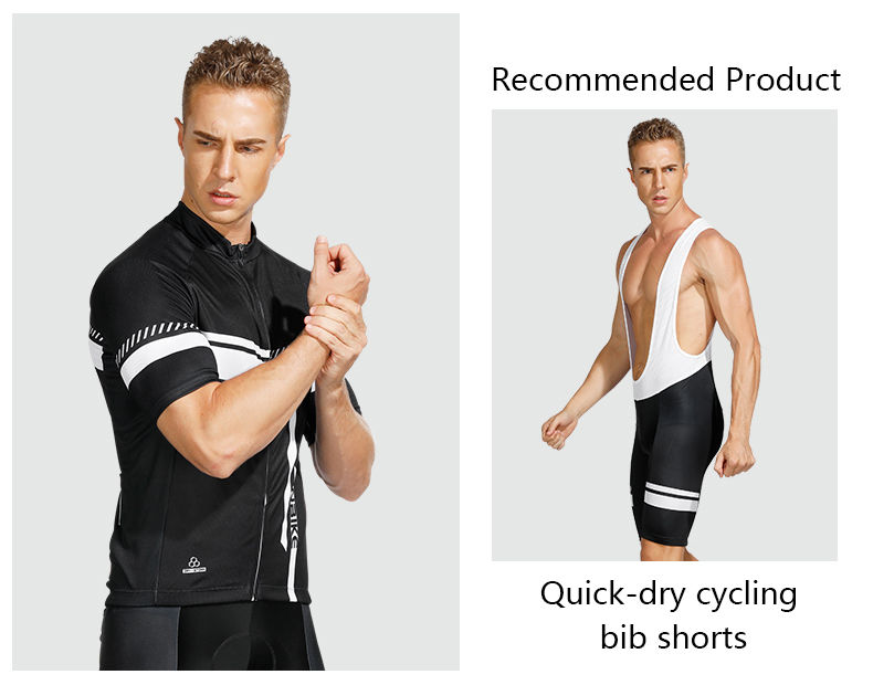 INBIKE Quick Drying Full Zip Short Sleeve Bike Shirt with 3D Padded Sports Shorts Set