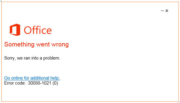 Error Code 30088-1021-0 Solution Office 365-Live Assist Tech Support