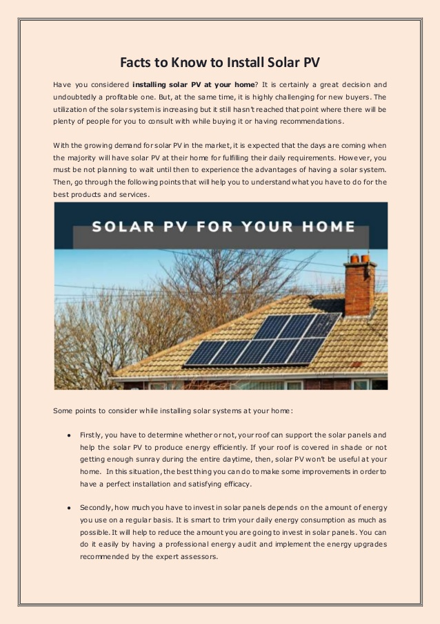 Facts to Know to Install Solar PV
