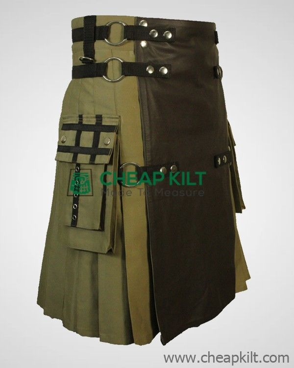 Custom Made Fashion Kilt Club Kilt with Leather Apron