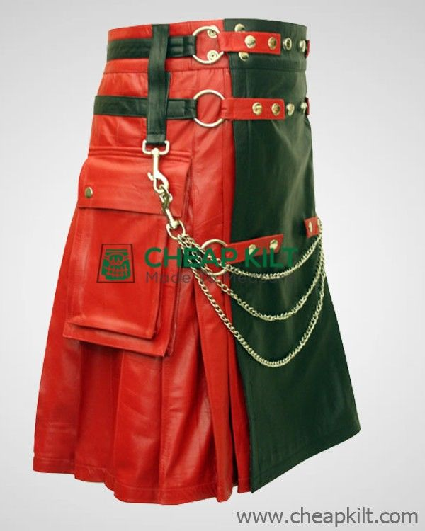 Modish Red and Black Leather Fashion Kilt