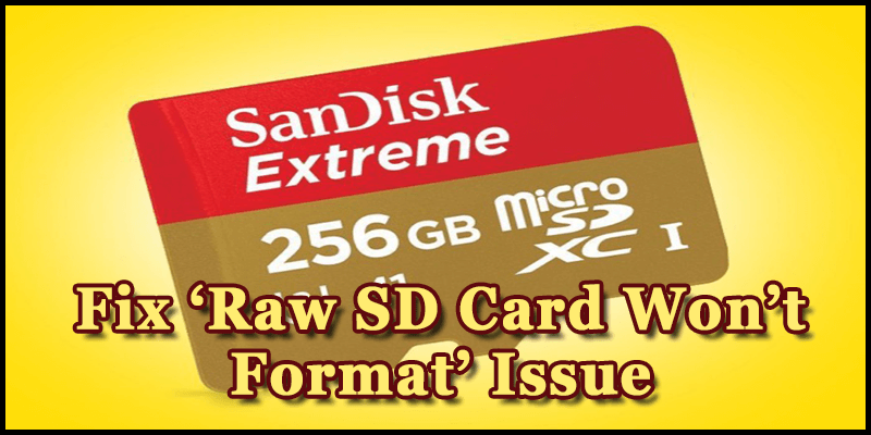 3 Quick Ways To Fix 'Raw SD Card Won't Format' Issue