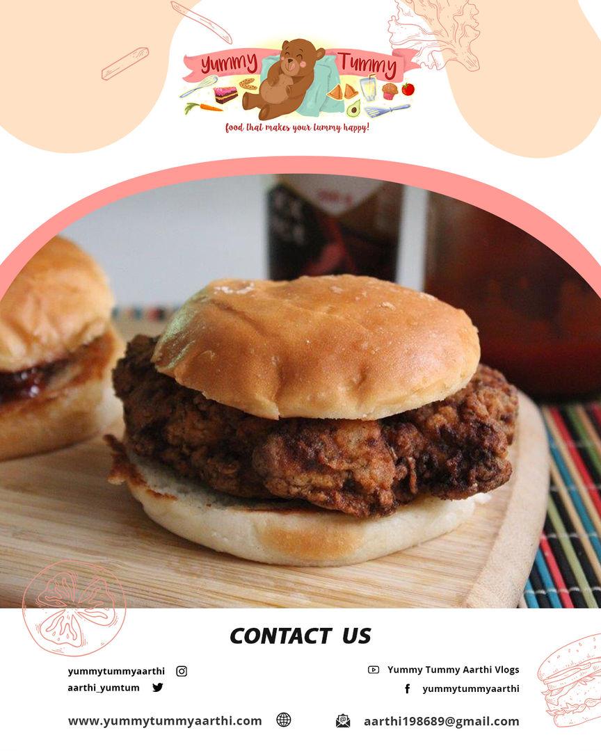 Fried Chicken Burger Recipe | Yummy Tummy Aarthi