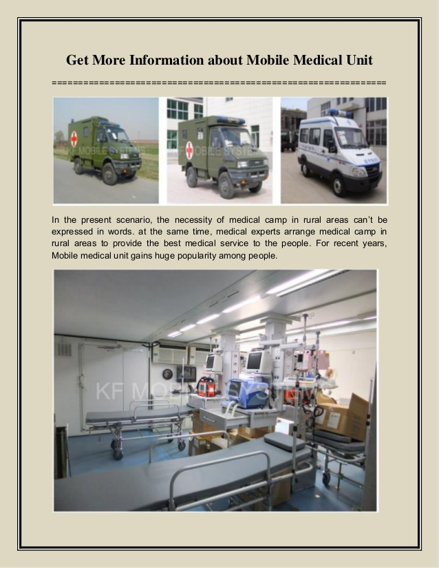 Get More Information about Mobile Medical Unit