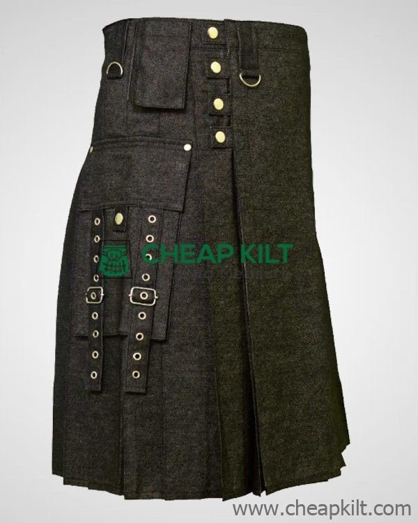Fashionable Gothic Style Denim Kilt for Men