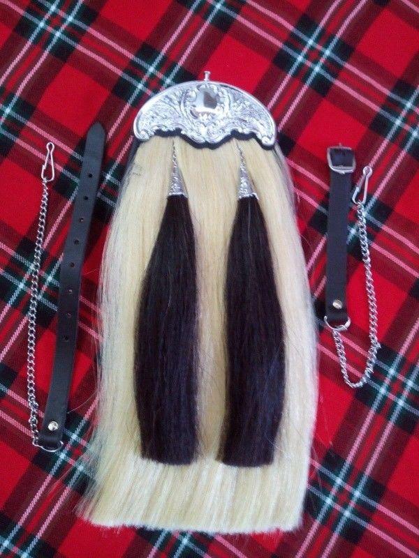 Genuine Leather White Horse Hair Full Dress Sporran with Black Horse Hair Tassels