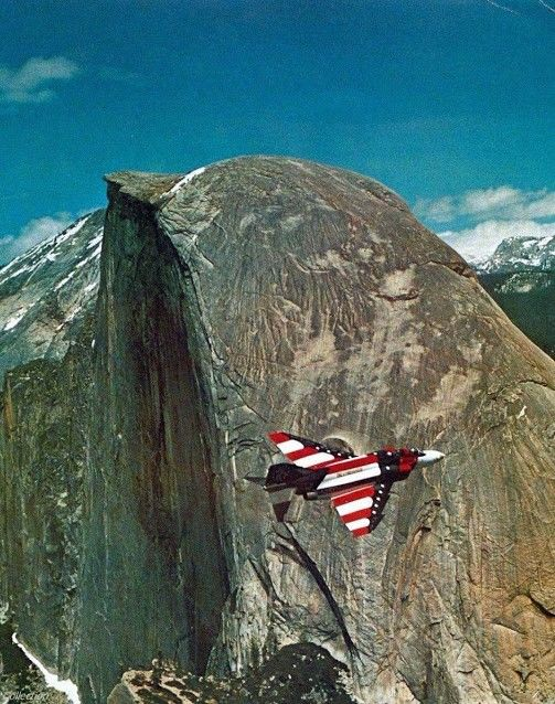 Fighter Plane with the Half Dome Mountain View