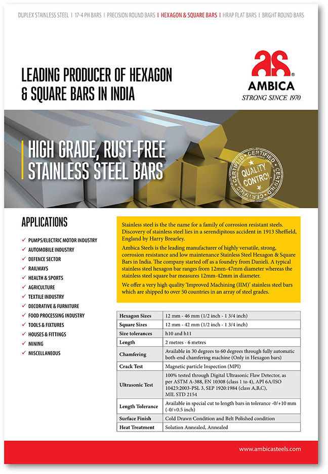 Ambica Steels is the Leading Producer of Hexagon Bars in India