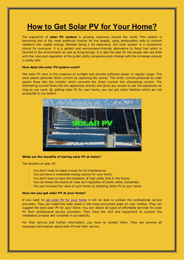 How to Get Solar PV for Your Home?